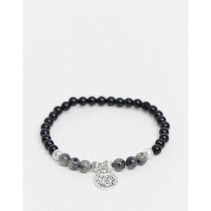 トップマン Topman メンズ ブレスレット チャーム ジュエリー・アクセサリー【beaded bracelet in black with lion head charm】Black