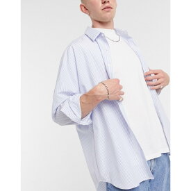 エイソス ASOS DESIGN メンズ シャツ ロング トップス【oversized longline dad shirt in subtle stripe】White