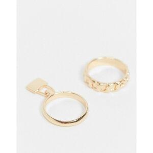 デザインBロンドン DesignB London メンズ 指輪・リング 2点セット チャーム ジュエリー・アクセサリー【Designb Ring 2 Pack In Gold With Chain Design And Padlock Charm】Gold