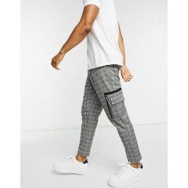 エイソス ASOS DESIGN メンズ カーゴパンツ ボトムス・パンツ【Smart Tapered Trousers In Grey Check Print And Cargo Pockets】Grey