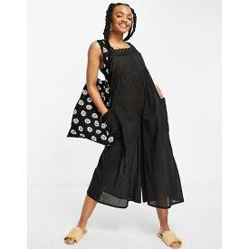 エイソス ASOS DESIGN レディース オールインワン ジャンプスーツ ワンピース・ドレス【broderie trim jumpsuit in black】Black