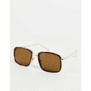 エキアビド A.Kjaerbede ユニセックス メガネ・サングラス スクエアフレーム【Aldo square sunglasses in brown tort】Tort