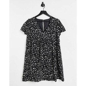 ブレイブソウル Brave Soul レディース ワンピース ベビードール ミニ丈 ワンピース・ドレス【printed mini babydoll dress in black】BLACK