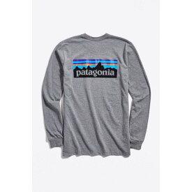 【残り一点限り!】【サイズ:L】パタゴニア Patagonia【P-6 Long Sleeve Logo Tee Grey】メンズ トップス 長袖Tシャツ【あす楽】