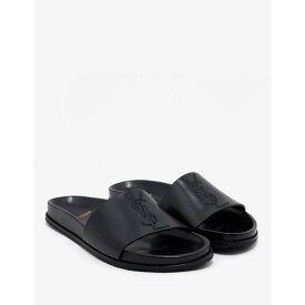 イヴ サンローラン Saint Laurent メンズ シューズ・靴 サンダル【Logo Embroidered Leather Slide Sandals】Black
