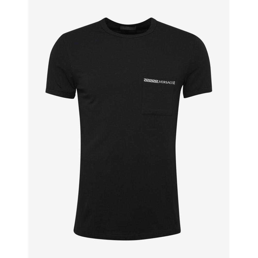 ヴェルサーチ Versace Gym メンズ トップス Tシャツ【Greca Trim Stretch Cotton T-Shirt】Black