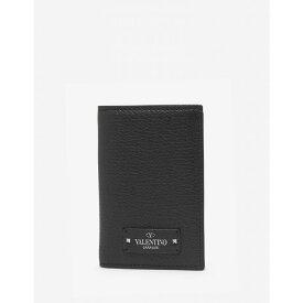 ヴァレンティノ Valentino Garavani メンズ カードケース・名刺入れ【Black Grain Leather Card Wallet with Tonal Logo】Black