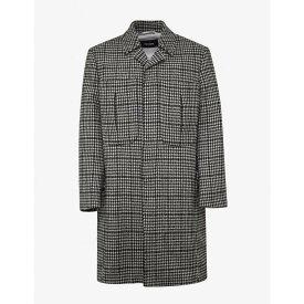 ラフ シモンズ Raf Simons メンズ アウター コート【Houndstooth Check Wool Coat】Black/White