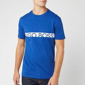 ヒューゴ ボス BOSS メンズ Tシャツ トップス【text logo t-shirt - blue】Blue