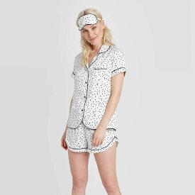 スターズアバブ Stars Above レディース パジャマ・上下セット 3点セット インナー・下着【3 Piece Polka Dot Satin Notch Collar Pajama Set - White】