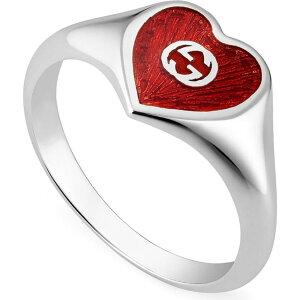 グッチ GUCCI レディース 指輪・リング ハート ジュエリー・アクセサリー【Extra Small Interlocking-G Red Heart Ring】Silver/Red