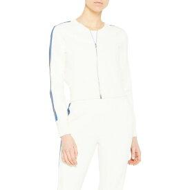 セオリー THEORY レディース ブルゾン ミリタリージャケット アウター【Stripe Sleeve Knit Bomber Jacket】Ivory/Steel Blue/Crema/Blue
