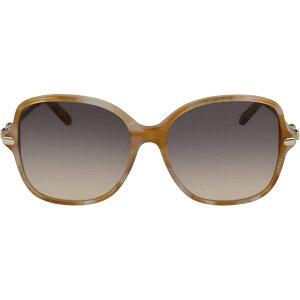 サルヴァトーレ フェラガモ SALVATORE FERRAGAMO レディース メガネ・サングラス スクエアフレーム【57mm Gradient Rounded Square Sunglasses】Blonde Havana/Grey Peach