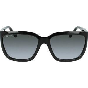 サルヴァトーレ フェラガモ SALVATORE FERRAGAMO レディース メガネ・サングラス 【Classic Logo 59mm Gradient Rectangle Sunglasses】Black/Black