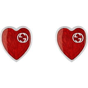 グッチ GUCCI レディース イヤリング・ピアス スタッドピアス ハート ジュエリー・アクセサリー【Extra Small Interlocking-G Red Heart Stud Earrings】Silver/Red