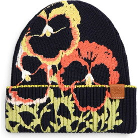 ロエベ LOEWE メンズ ニット ビーニー 帽子【Pansies Print Cotton Beanie】Black/Multicolor