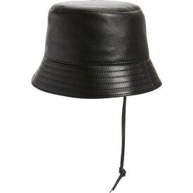 ロエベ LOEWE レディース ハット バケットハット 帽子【Anagram Logo Patch Leather Bucket Hat】Black