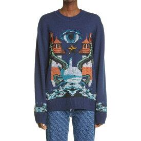 バーバリー BURBERRY レディース ニット・セーター トップス【Liannah Intarsia Mermaid Wool Sweater】Navy