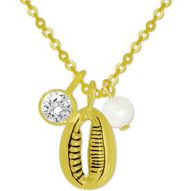 """コナベイハワイ Kona Bay ユニセックス ネックレス ジュエリー・アクセサリー【Puka Shell & Freshwater Pearl (6mm) Pendant Necklace in Gold-Plate, 16"""" + 2"""" extender】Gold"""