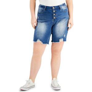 ドールハウス Dollhouse レディース ショートパンツ 大きいサイズ ダメージ加工 ボトムス・パンツ【Trendy Plus Size Ripped Button-Fly Shorts】Canary Island