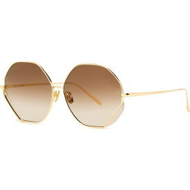 リンダ ファロー Linda Farrow Luxe レディース メガネ・サングラス 【Fawcet 22Kt Gold-Plated Hexagon-Frame Sunglasses】Brown