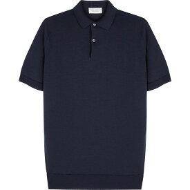 ジョンスメドレー John Smedley メンズ ポロシャツ トップス【Navy fine-knit wool polo shirt】Navy