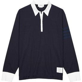 トム ブラウン Thom Browne メンズ ポロシャツ トップス【Navy cotton polo shirt】Navy