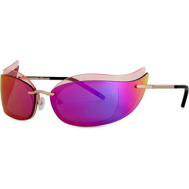 クレージュ COURREGES レディース メガネ・サングラス キャットアイ【Gold-tone wraparound cat-eye sunglasses】Pink