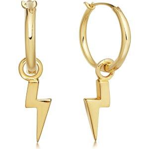 ミッソーマ Missoma レディース イヤリング・ピアス チャーム ジュエリー・アクセサリー【Lightning Charm 18Kt Gold Vermeil Hoop Earrings】Gold