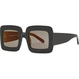 クレージュ COURREGES レディース メガネ・サングラス スクエアフレーム【Black Square-Frame Sunglasses】Black
