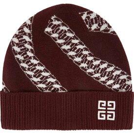 ジバンシー Givenchy レディース ニット ビーニー 帽子【burgundy chain-intarsia wool beanie】Red