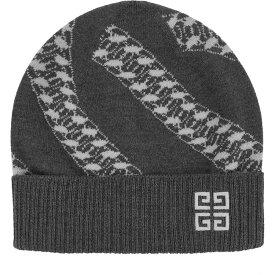 ジバンシー Givenchy レディース ニット ビーニー 帽子【grey chain-intarsia wool beanie】Grey