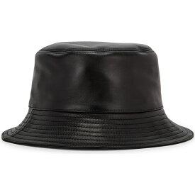 ロエベ Loewe レディース ハット バケットハット 帽子【Black logo leather bucket hat】Black