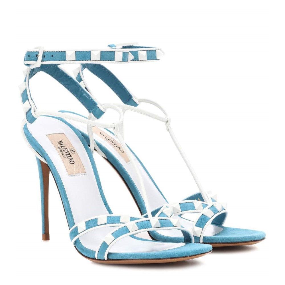ヴァレンティノ レディース シューズ・靴 サンダル・ミュール【Valentino Garavani Free Rockstud Spike suede sandals】BLUE