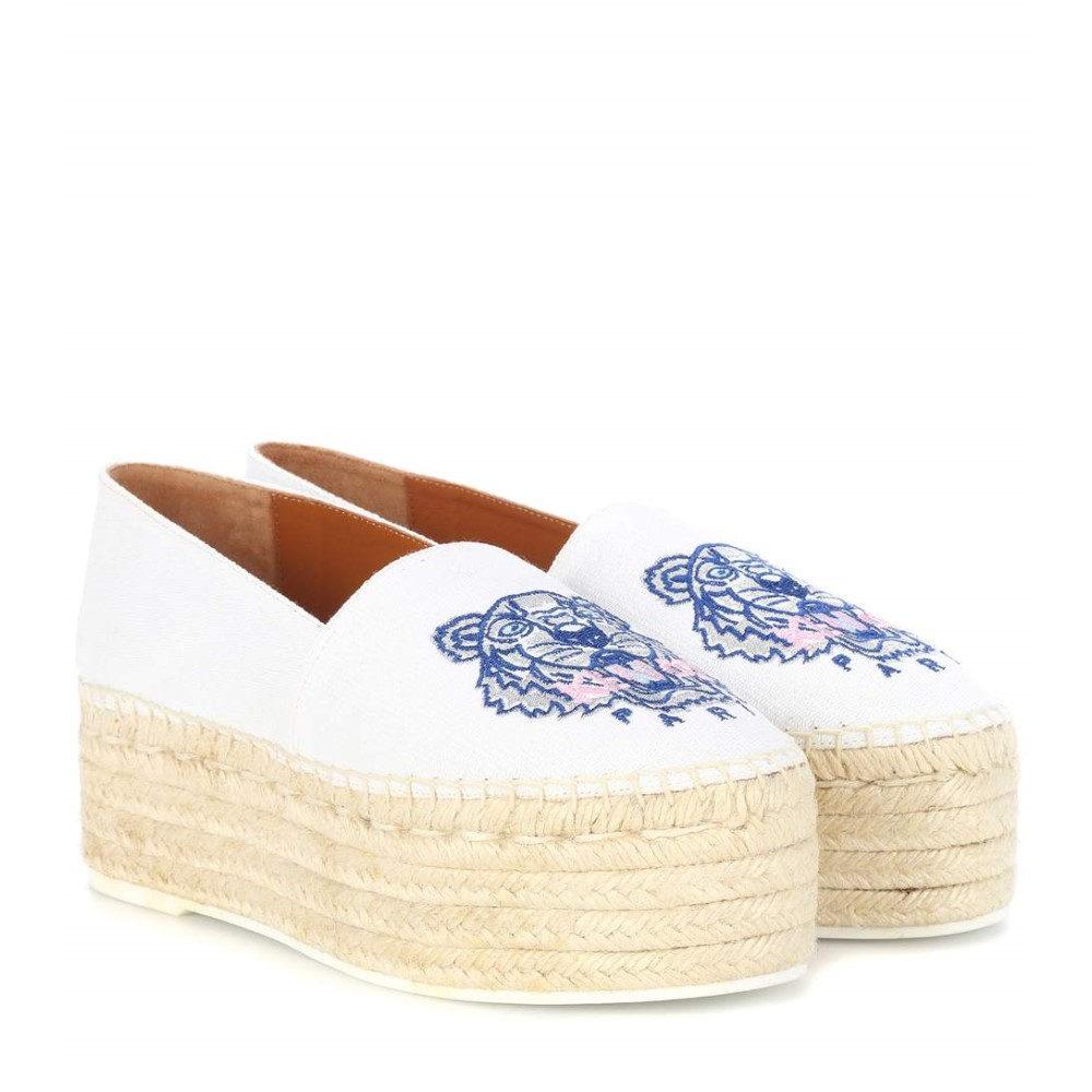 ケンゾー レディース シューズ・靴 エスパドリーユ【Embroidered platform espadrilles】White