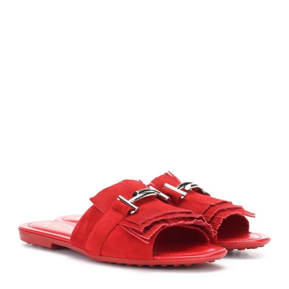 トッズ レディース シューズ・靴 サンダル・ミュール【Double T suede slides】Red