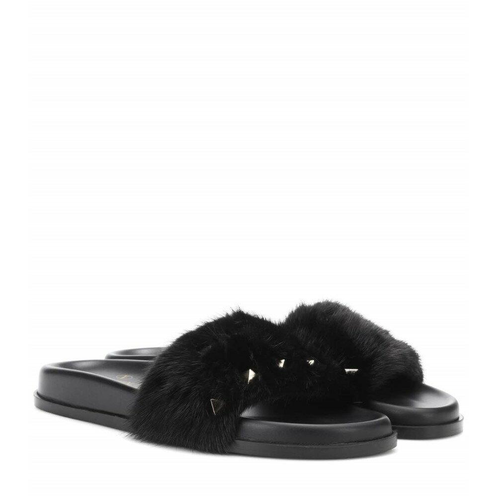 ヴァレンティノ レディース シューズ・靴 サンダル・ミュール【Valentino Garavani mink fur slides】Black