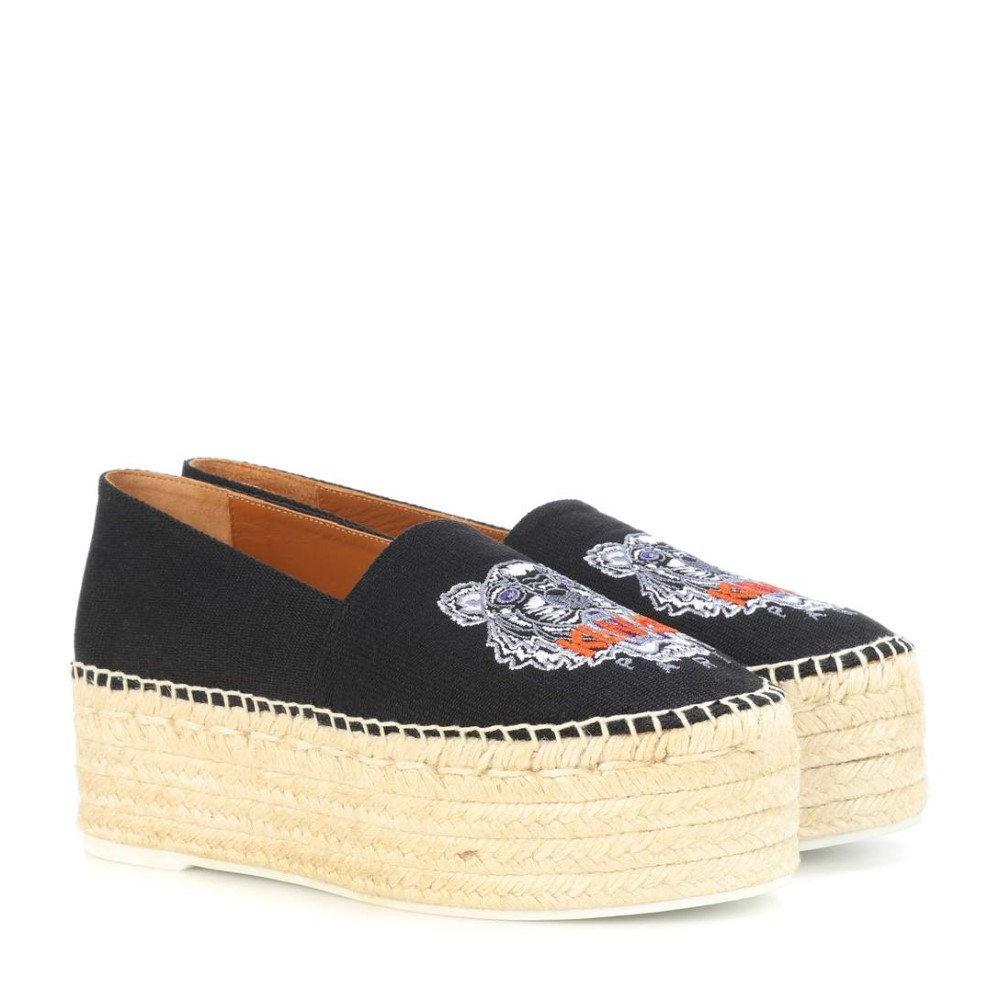 ケンゾー レディース シューズ・靴 エスパドリーユ【Embroidered platform espadrilles】Black