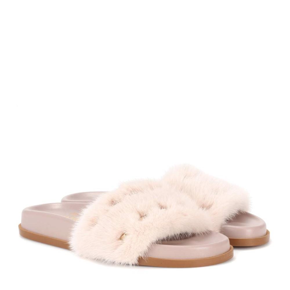 ヴァレンティノ レディース シューズ・靴 サンダル・ミュール【Valentino Garavani mink fur slides】Soft Pink