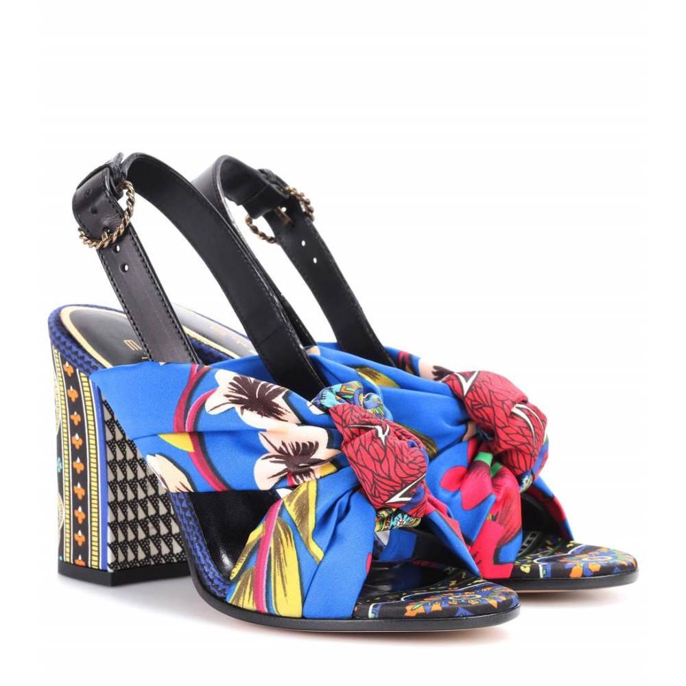 エトロ レディース シューズ・靴 サンダル・ミュール【Printed satin sandals】Blue/Multicolor