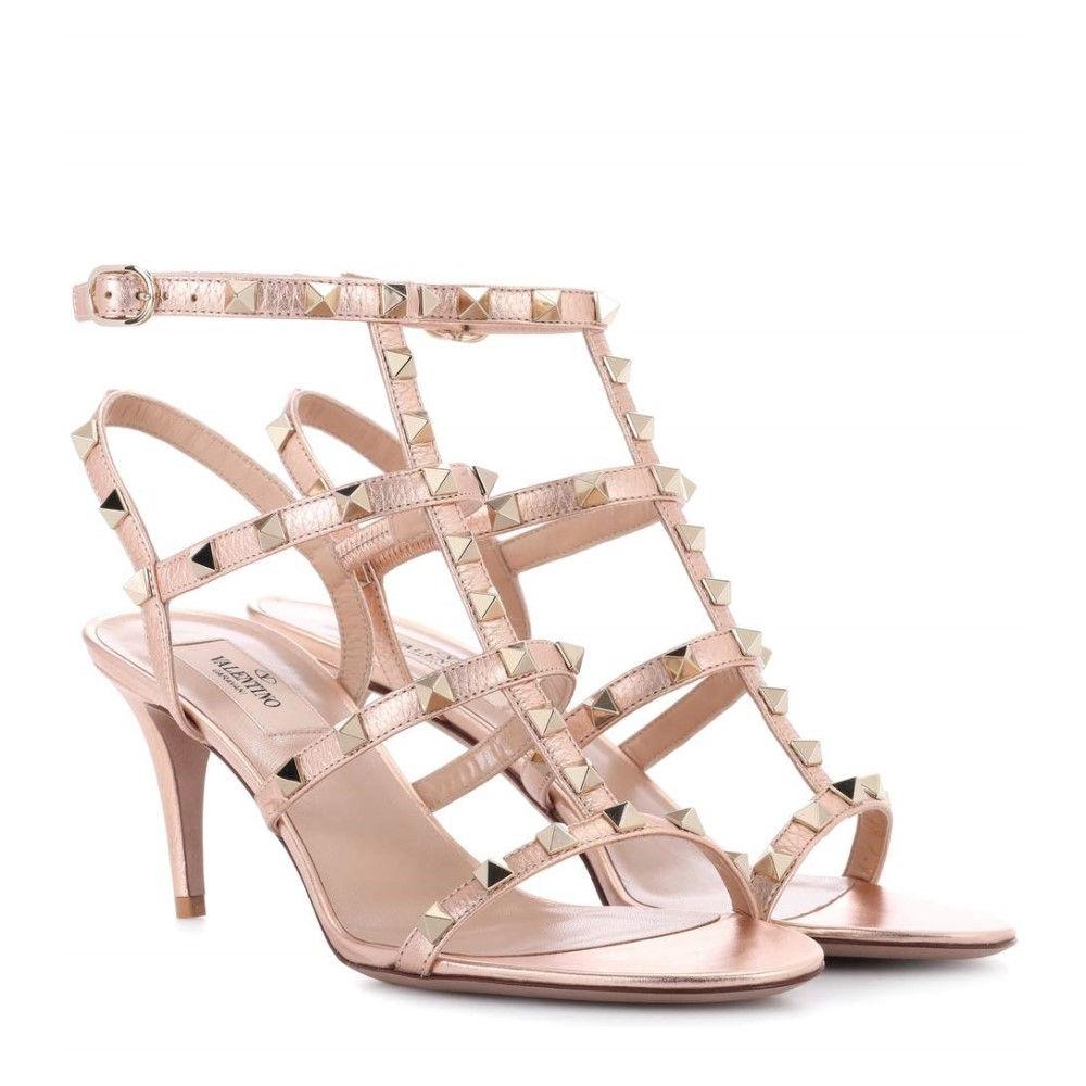 ヴァレンティノ レディース シューズ・靴 サンダル・ミュール【Valentino Garavani Rockstud leather sandals】Rame