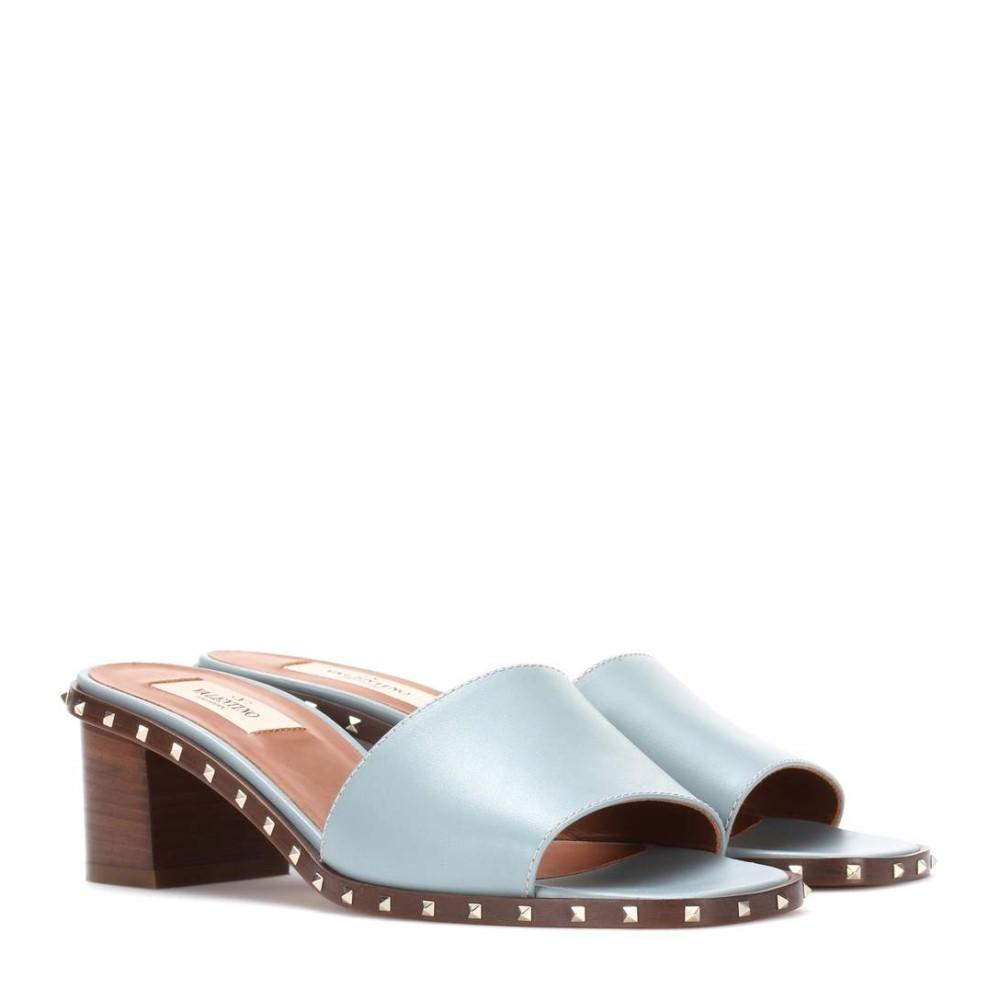 ヴァレンティノ レディース シューズ・靴 サンダル・ミュール【Valentino Garavani Soul Rockstud leather sandals】NUBE BLUE