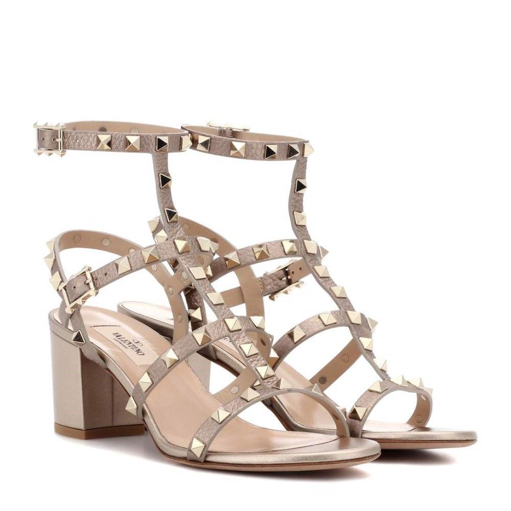 ヴァレンティノ レディース シューズ・靴 サンダル・ミュール【Valentino Garavani Rockstud leather sandals】Skin