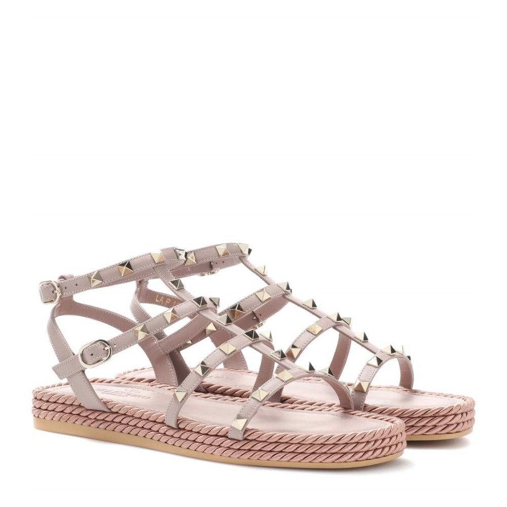 ヴァレンティノ レディース シューズ・靴 サンダル・ミュール【Valentino Garavani Torchon leather sandals】Poudre