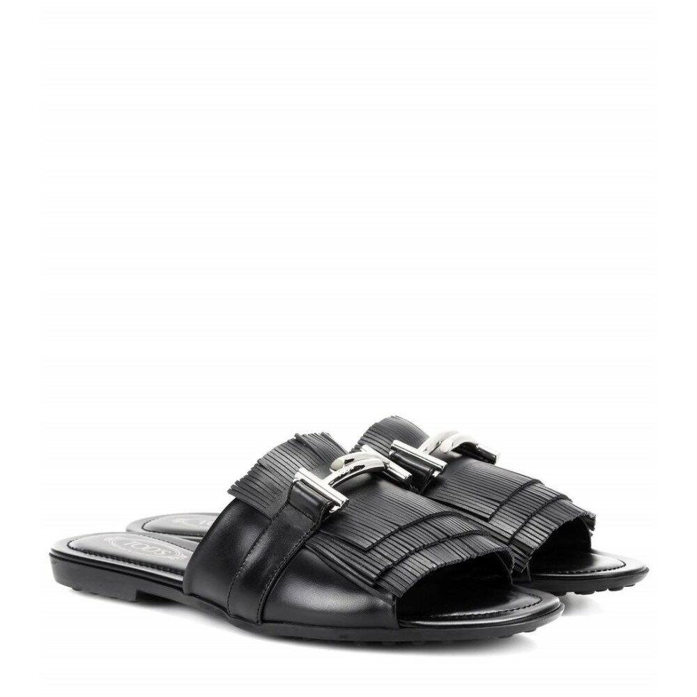 トッズ レディース シューズ・靴 サンダル・ミュール【Double T leather sandals】BLACK