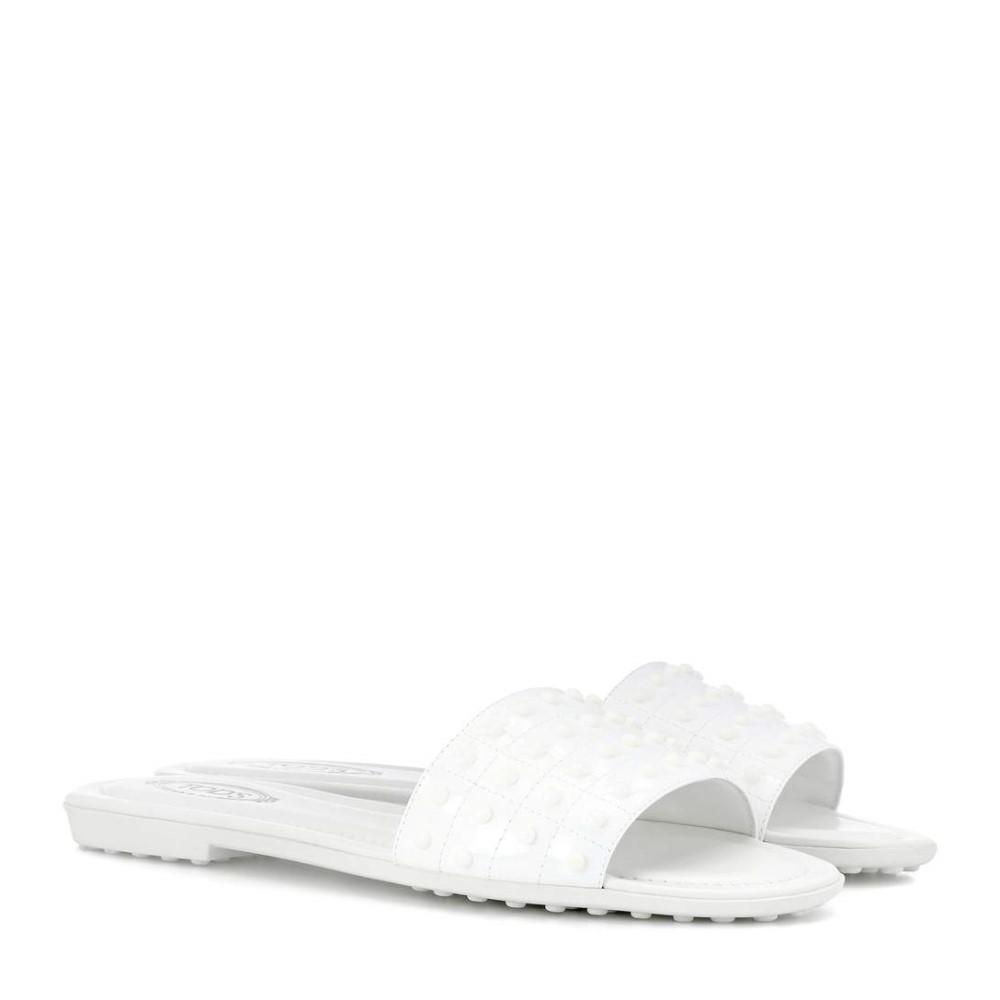 トッズ レディース シューズ・靴 サンダル・ミュール【Patent leather slides】Bianco