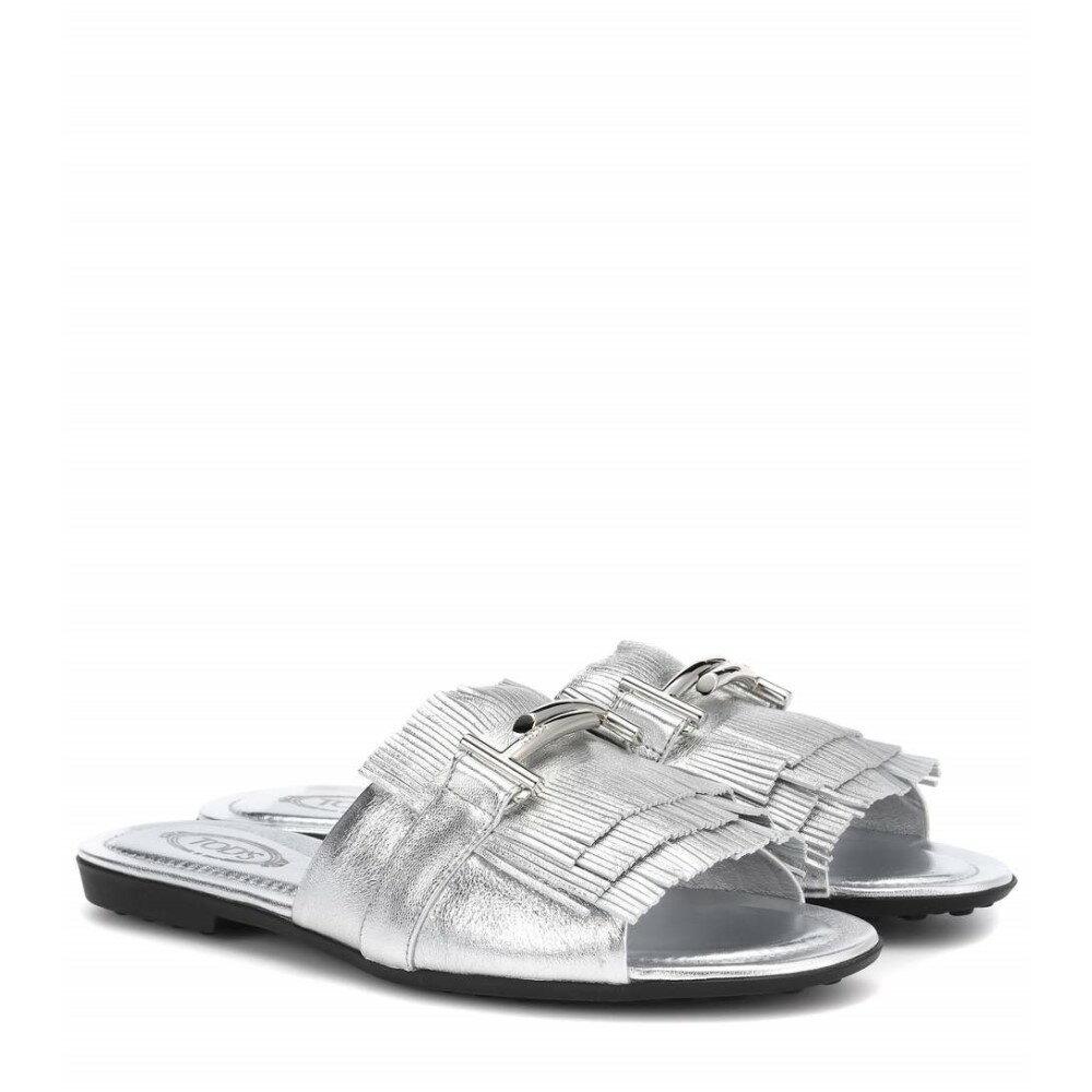 トッズ レディース シューズ・靴 サンダル・ミュール【Double T metallic leather sandals】Silver