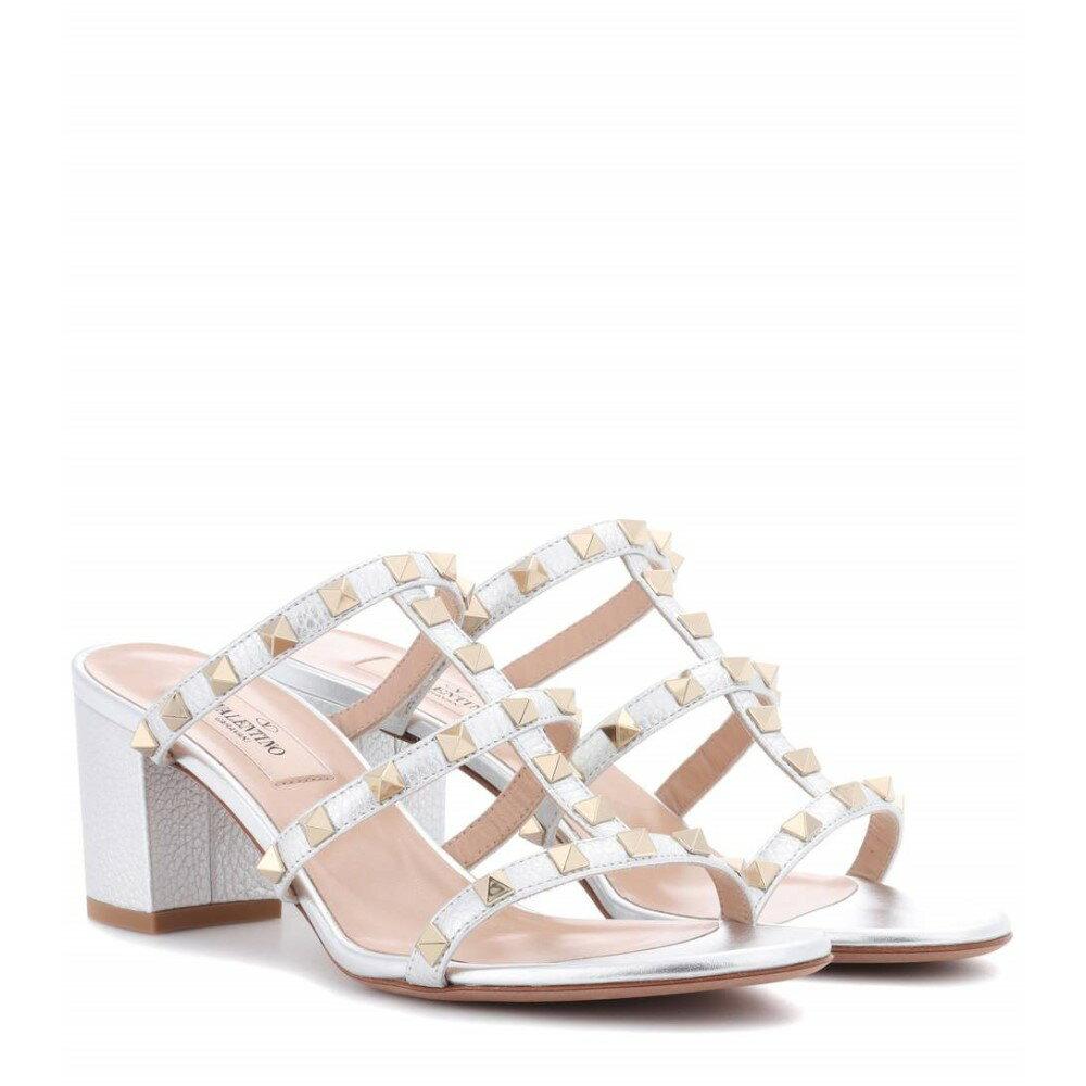 ヴァレンティノ レディース シューズ・靴 サンダル・ミュール【Valentino Garavani Rockstud metallic leather sandals】Silver