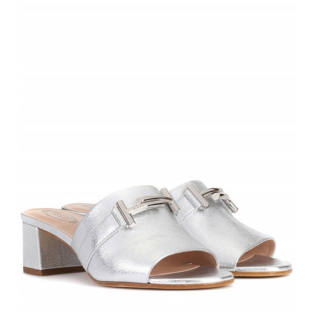 トッズ レディース シューズ・靴 サンダル・ミュール【Double T leather sandals】Silver