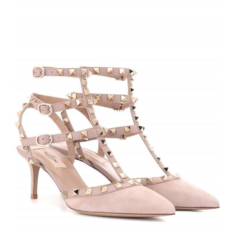 ヴァレンティノ レディース シューズ・靴 サンダル・ミュール【Valentino Garavani Rockstud suede sandals】Poudre